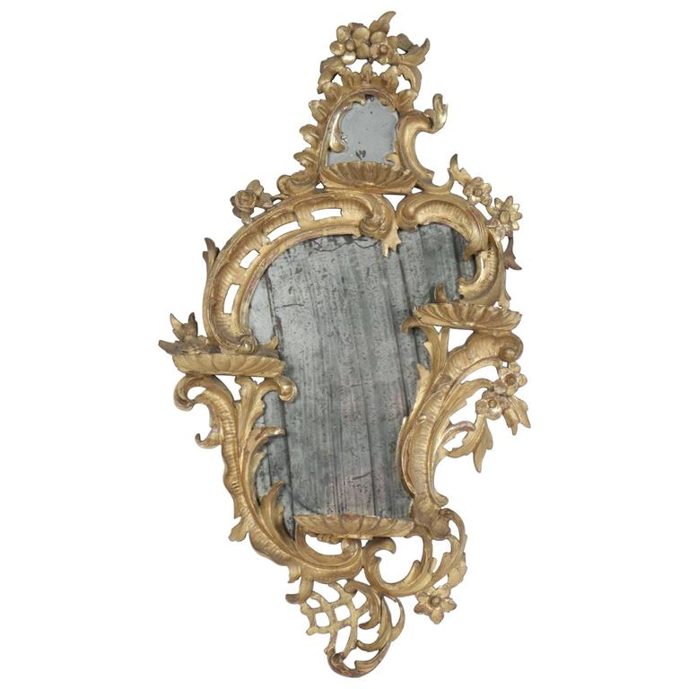 "Italian Early 19th Century Small Original Giltwood ""Rocaille"" Mirror"