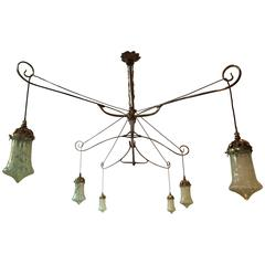 WAS Benson.An Exceptional DiningBilliard or Snooker chandelier. Shades separate For Sale at 1stdibs  sc 1 st  1stDibs & WAS Benson.An Exceptional DiningBilliard or Snooker chandelier ...