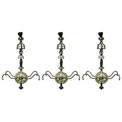 Spital & Clarke, Birmingham 3 Enormous Arts & Crafts Blacksmith Made Chandeliers