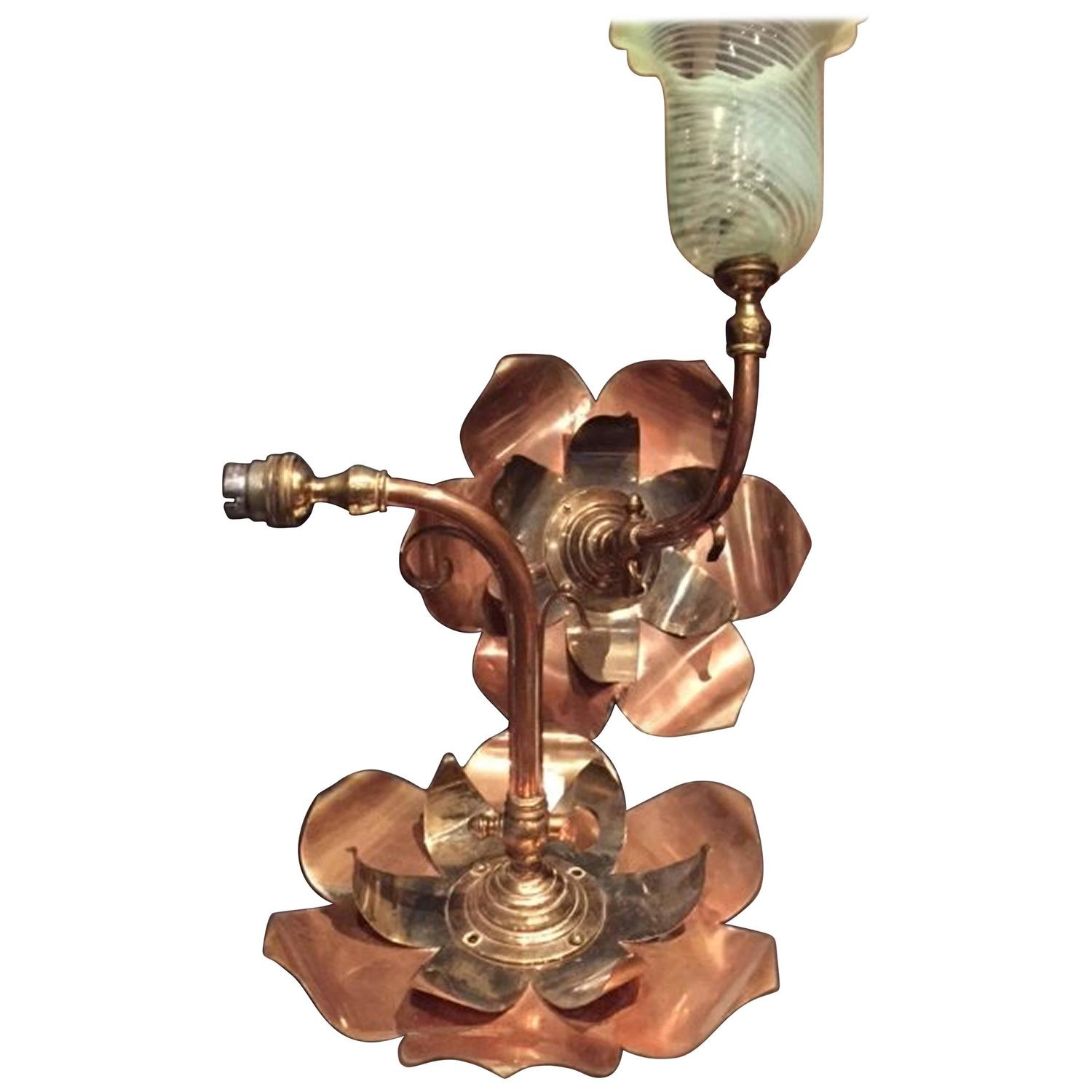 Very Rare Pair of Large Brass and Copper Lily-Pad Wall Lights by W.A.S Benson For Sale at 1stdibs