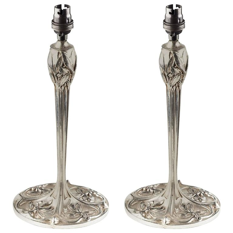 Pair of Arts and Crafts Silver Plated Table Lamps
