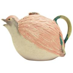 Japanese Meiji Earthenware Quail Teapot with Fly, Collector's Item, Ceramics