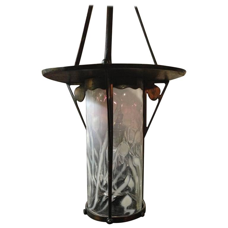 An Arts and Crafts Copper Lantern with the Original Vaseline Cranberry Shade