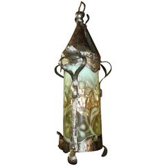 Arts and Crafts Silver-Plated Lantern with Floral Vaseline Shade