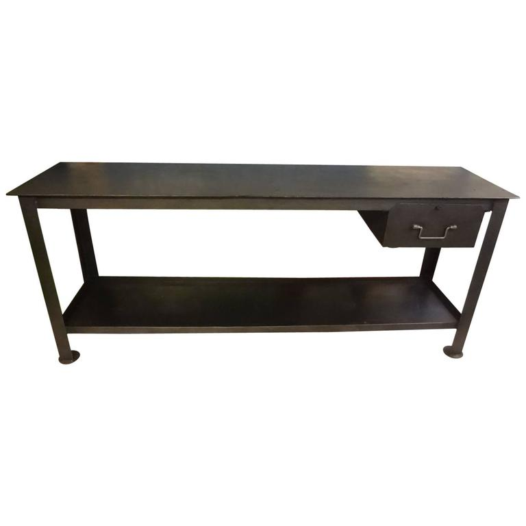 20th Century Industrial Metal Console Table