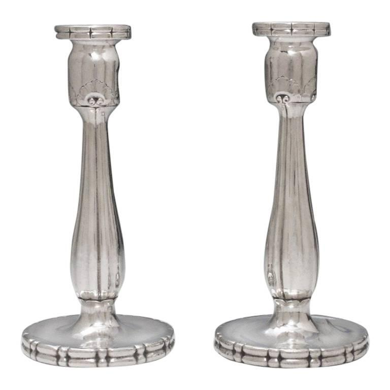 Pair of Arts & Crafts Silver Candlesticks by Georg Jensen