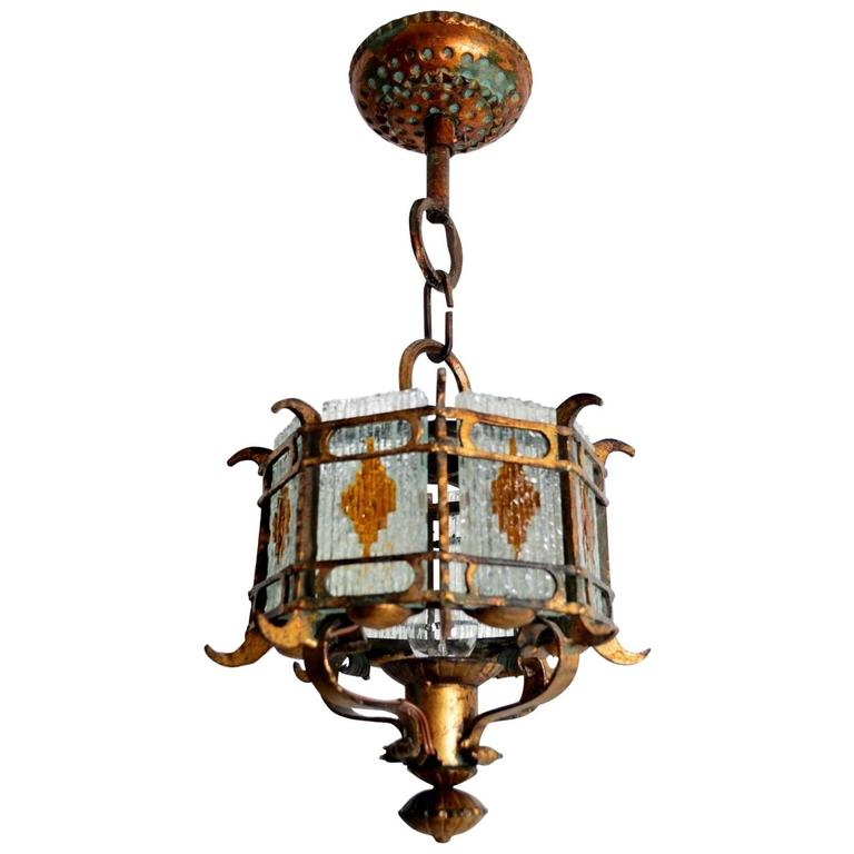Cut glass and gilt wrought iron lantern pendant lamp brutalist style cut glass and gilt wrought iron lantern pendant lamp brutalist style italy for sale aloadofball Gallery