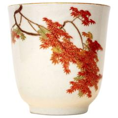 19th Century Japanese Teacup, Satsuma Ceramics by Yabu Meizan Gilded Red Maple