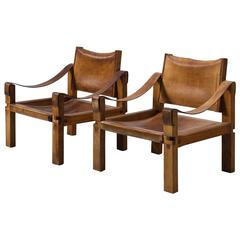 Pierre Chapo Set of Two 'S10B' Lounge Chairs in Elm and Patinated Cognac Leather