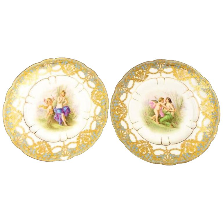 Late 19th Century Pair of Sevres Plates, Signed For Sale