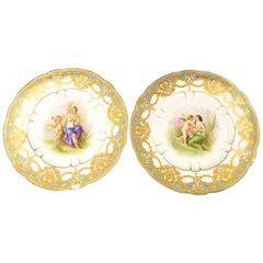 Late 19th Century Pair of Sevres Plates, Signed