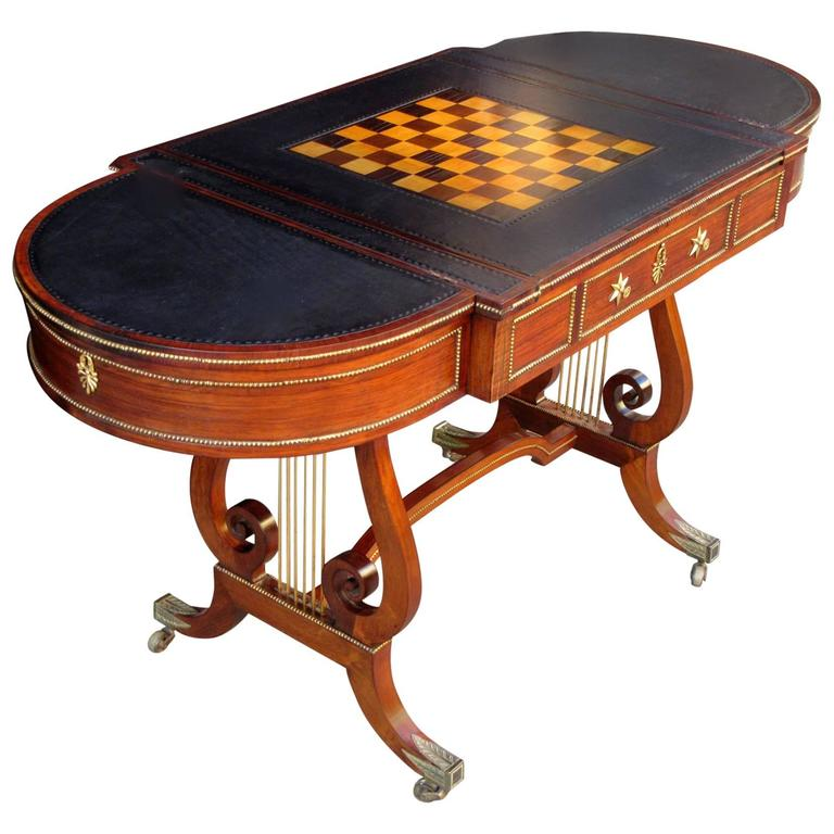 19th Century English Regency Rosewood Sofa Gaming Table Attributed to Gillows