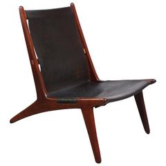 Swedish Teak and Leather Hunting Chair Model #204 by Uno and Östen Kristiansson