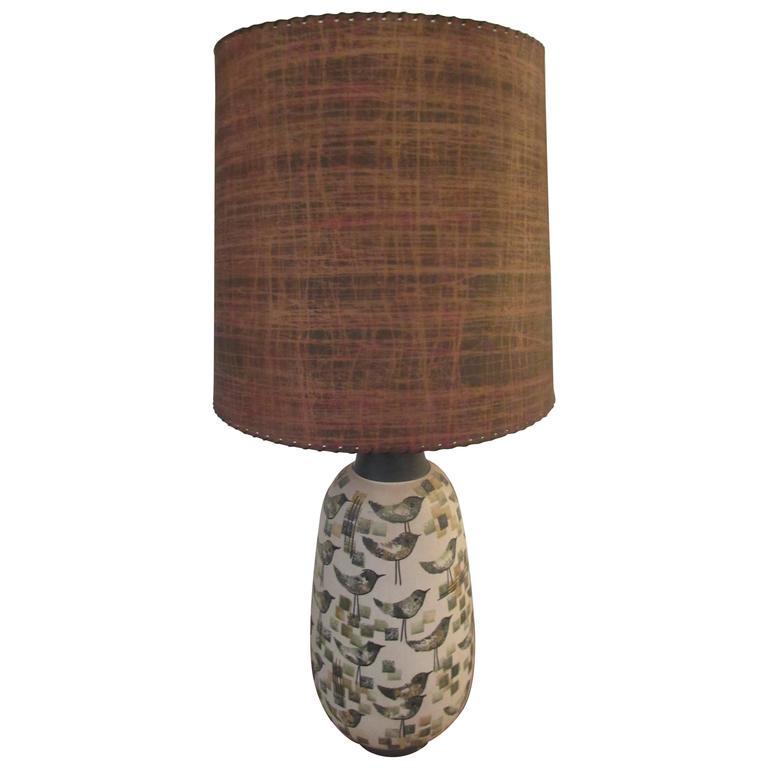 Italian Ceramic Bird Lamp with Fiberglass Shade at 1stdibs