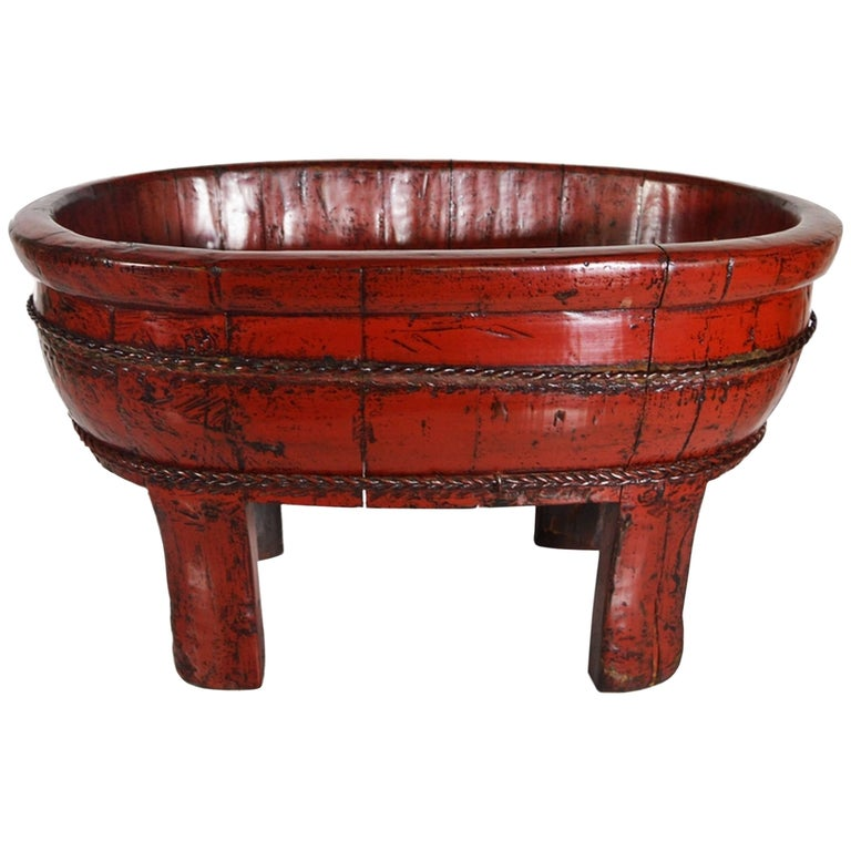 Antique Red Lacquered Wood Bowl with Legs and Cords from China, 19th Century