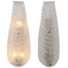 Pair of Murano Glass Leaf Sconces