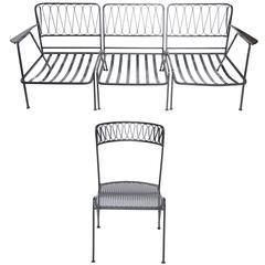 Black Salterini Ribbon Chairs and Settee Set