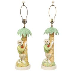 Pair of Majolica Monkey Table Lamps