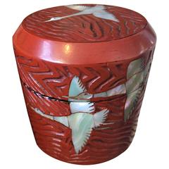 "Japan Red Lacquered Tea Container Chaire ""Flying Geese"" with Mop Inlay"