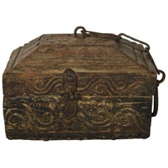 19th Century Hand-Carved Indian Carved Wood Money Box with Scrolls and Hardware