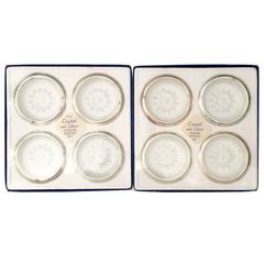 Set of Eight Italian Silver and Cut Crystal Coasters