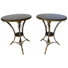 Pair of Ormolu and Metal Guéridon Tables with Black Marble Top and Ram's Masks