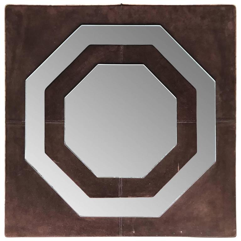 Mid-Century Modern Suede Mirror by Schlesinger Brothers