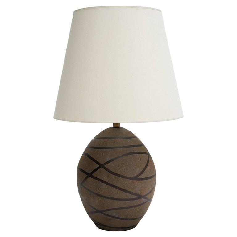Black Stripes Ceramic Glazed Matte Texture Oval Table Lamp
