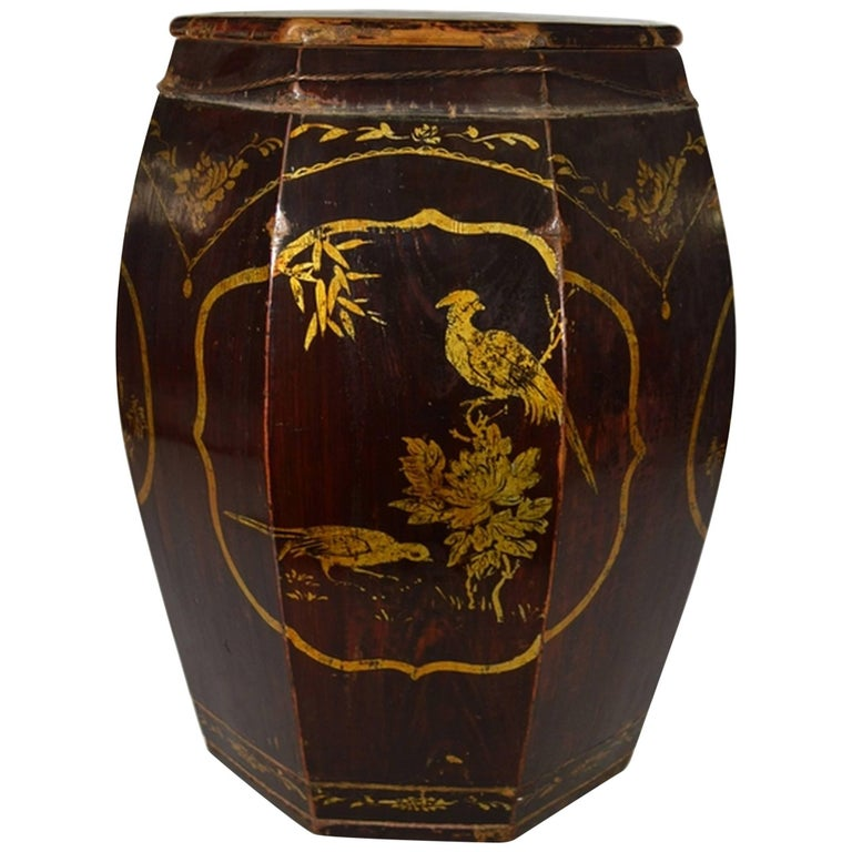 Hand-Painted Grain Storage Barrel with Medallions from, China, 19th Century