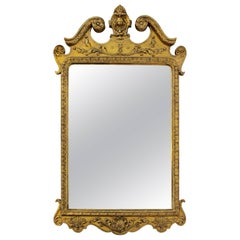 George I Gilt Gesso Pier Mirror with Swan's Neck Pediment and Carved Decoration