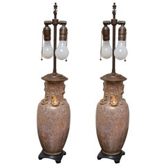 Pair of Shimmering Blush Lamps