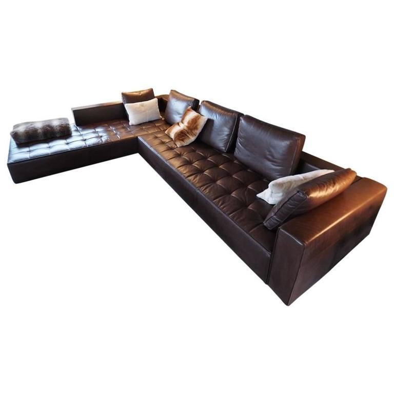 Chocolate leather kilt sofa by zanotta at 1stdibs for Canape leather sofa