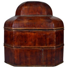 Antique Chinese Handmade Red Varnished Bamboo Stacked Box from the 19th Century