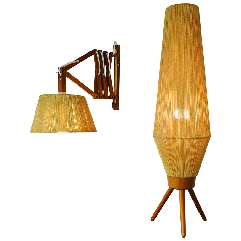 Teak and Jute Table/Floor Lamp and Accordion Wall Lamp For Sale - Teak And Jute Table/Floor Lamp And Accordion Wall Lamp At 1stdibs
