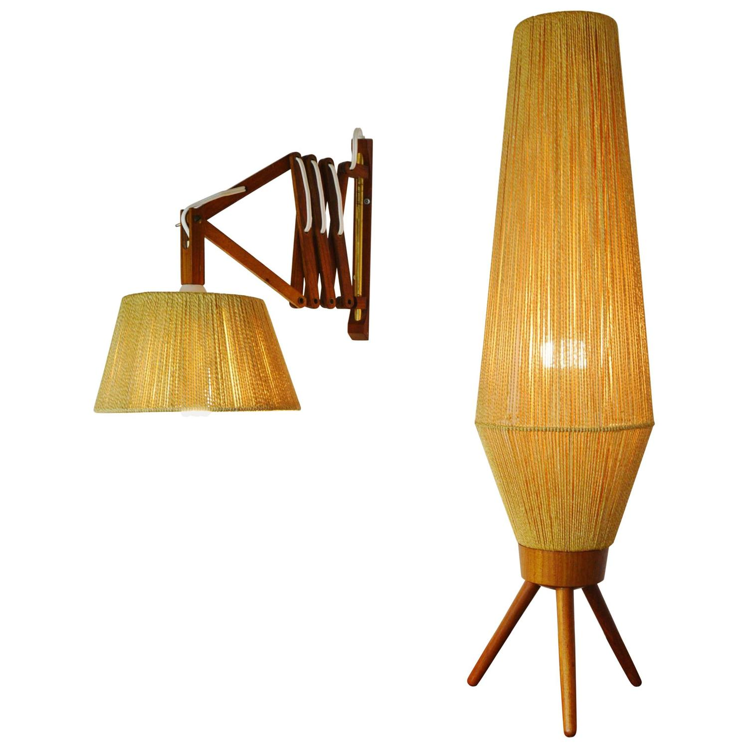 Wall Mounted Accordion Lamps : Teak and Jute Table/Floor Lamp and Accordion Wall Lamp For Sale at 1stdibs