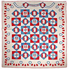 Rare Patriotic Presidential Applique Quilt from 1925