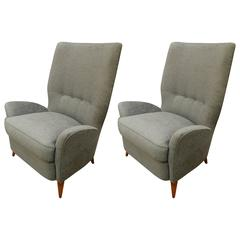Pair of Large, Tall Mid-Century Style Slate Blue Italian Lounge or Armchairs