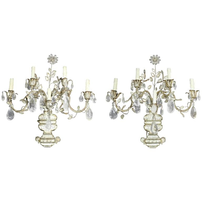 Pair of Maison Bagues Regence Style Rock Crystal and Crystal Wall Sconces