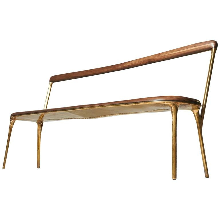 Bench with Back in Brass by Valentin Loellmann