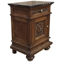 Antique Italian Renaissance Hand-Carved Walnut BLack Marble Top Nightstand