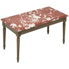 "Louis XVI Style Coffee Table with ""Rouge Royal"" Marble-Top"