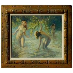 French Artist Yves Diey Oil on Canvas, Les Baigneuses