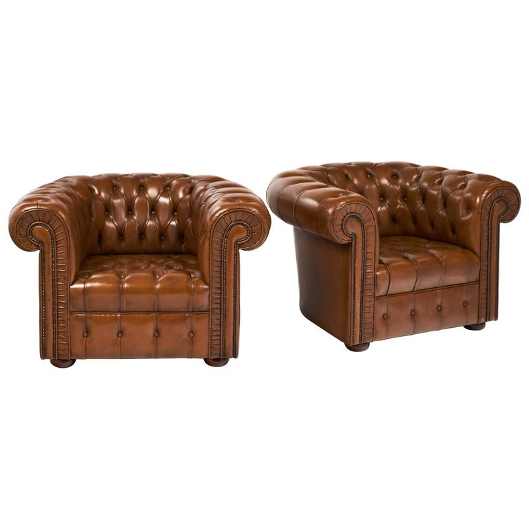 Pair Of Vintage Cognac Leather Chesterfield Club Chairs For Sale