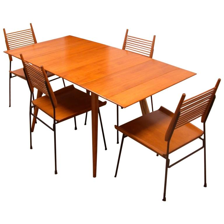 planner group dining table set and four chairs mid century at 1stdibs