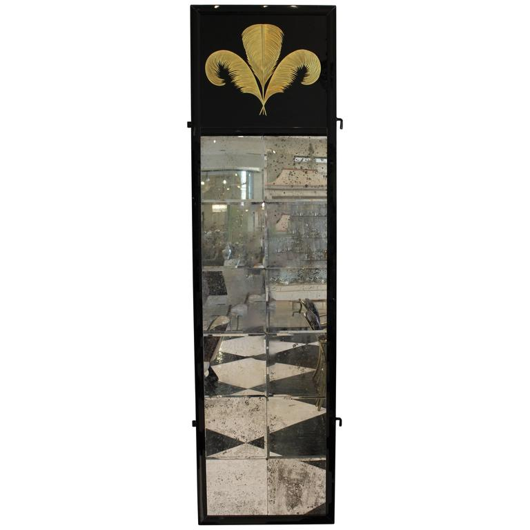 Tall black framed wall mirrors with gold plume detail for for Tall mirrors for sale