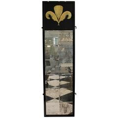 Tall Black Framed Wall Mirrors with Gold Plume Detail