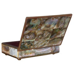 Abalone Brass and Rosewood Box Mexico Taxco Mid-Century Modern