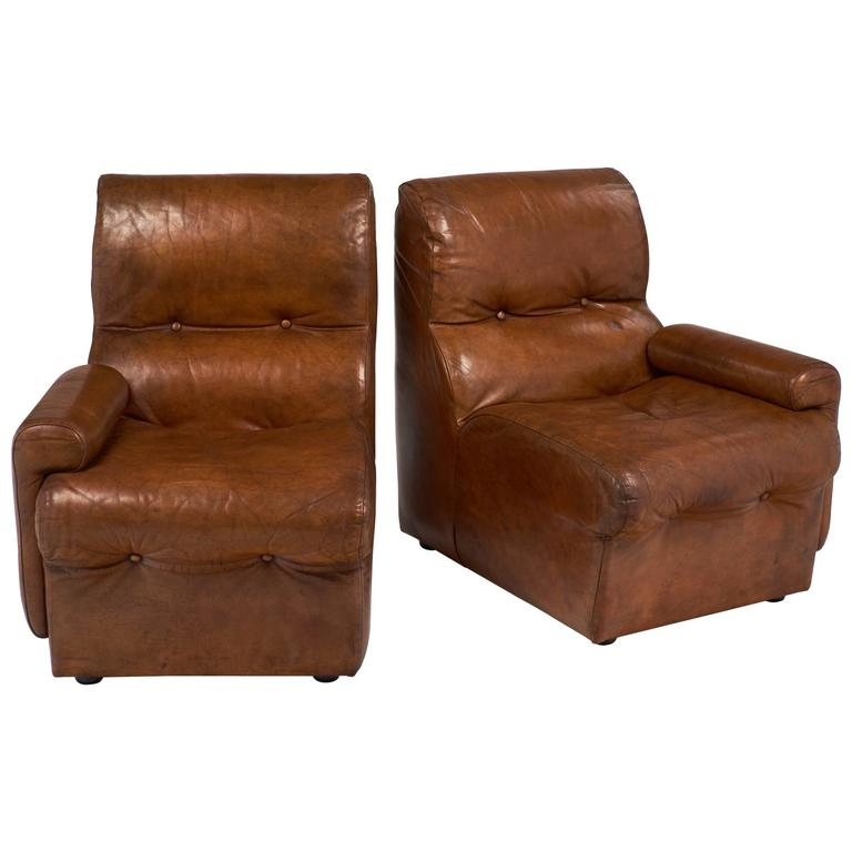 Vintage Mid Century Cognac Leather Armchairs For Sale At 1stdibs