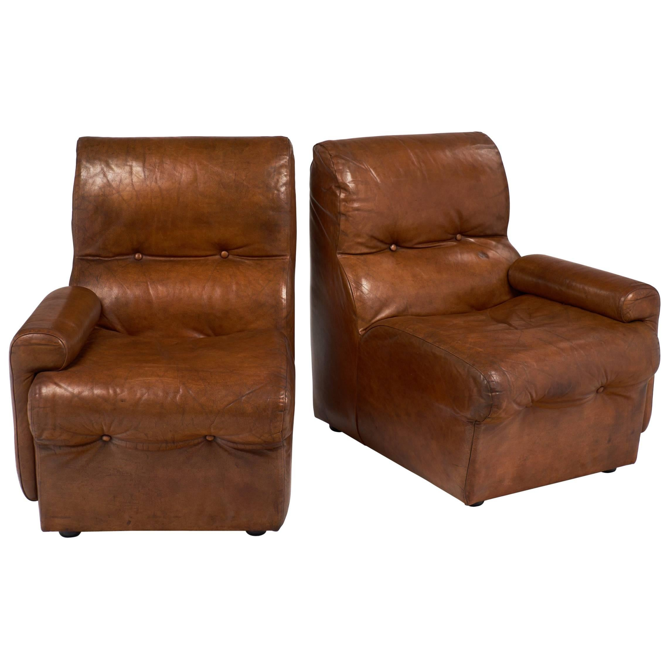 Vintage Mid-Century Cognac Leather Armchairs