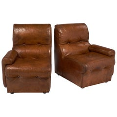 Vintage Mid-Century Cognac Leather Armchairs